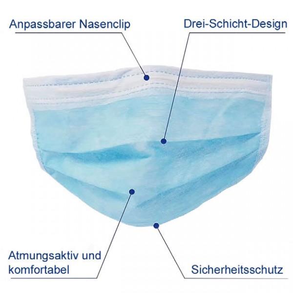 Mundschutz 3-lagig, 50 Stk./Pkg.